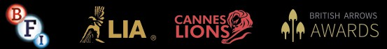 BFI, LIA, Cannes Lion, and British Arrow Awards logos