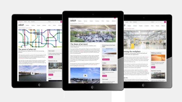 Screenshot of campaign pages created for Arup